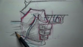 How To Draw Hand Holding A Gun - Tutorial(Here are simple step-by-step guidelines for drawing a hand holding a gun. Super easy for anyone to follow. After you're done, practice drawing your own hand ..., 2013-09-21T00:27:42.000Z)