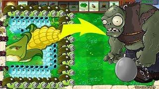 Plants vs Zombies Mod: 1 Cob Cannon vs Gatling Pea and Snow Pea