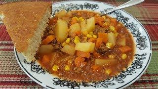 Hamburger Soup - One Pot Meal - The Hillbilly Kitchen
