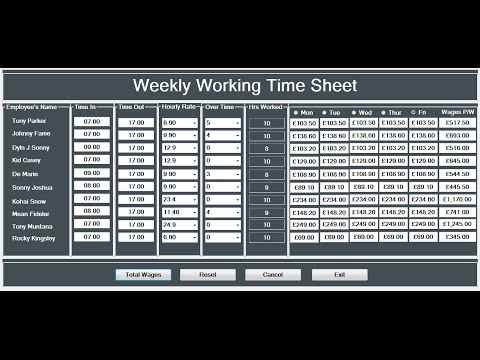 How to Create a Working Time Sheet Tutorial in Visual Basic.