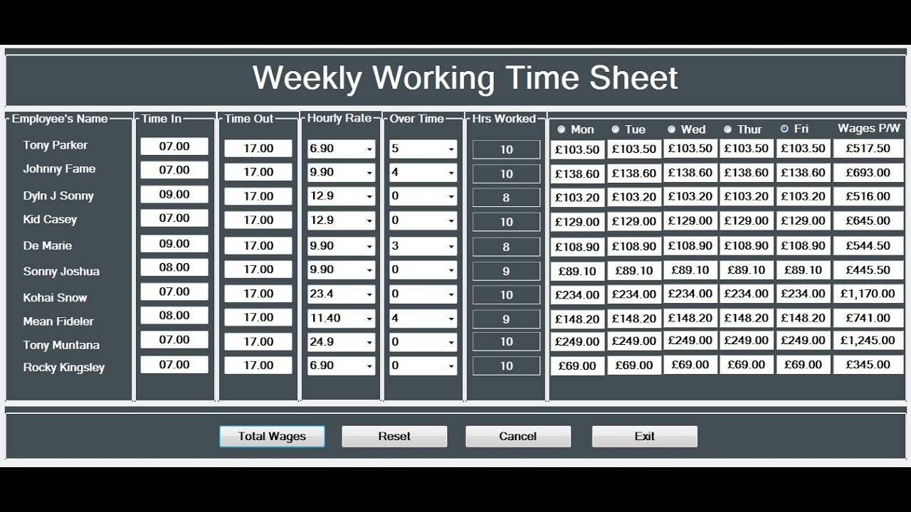 How To Create A Working Time Sheet Tutorial In Visual