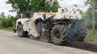 Wirtgen WR 2400 Cold Recycler In Action Video HD Milling Asphalt /w Heavy Equipment