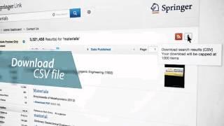 Searching & Browsing - SpringerLink Tutorial