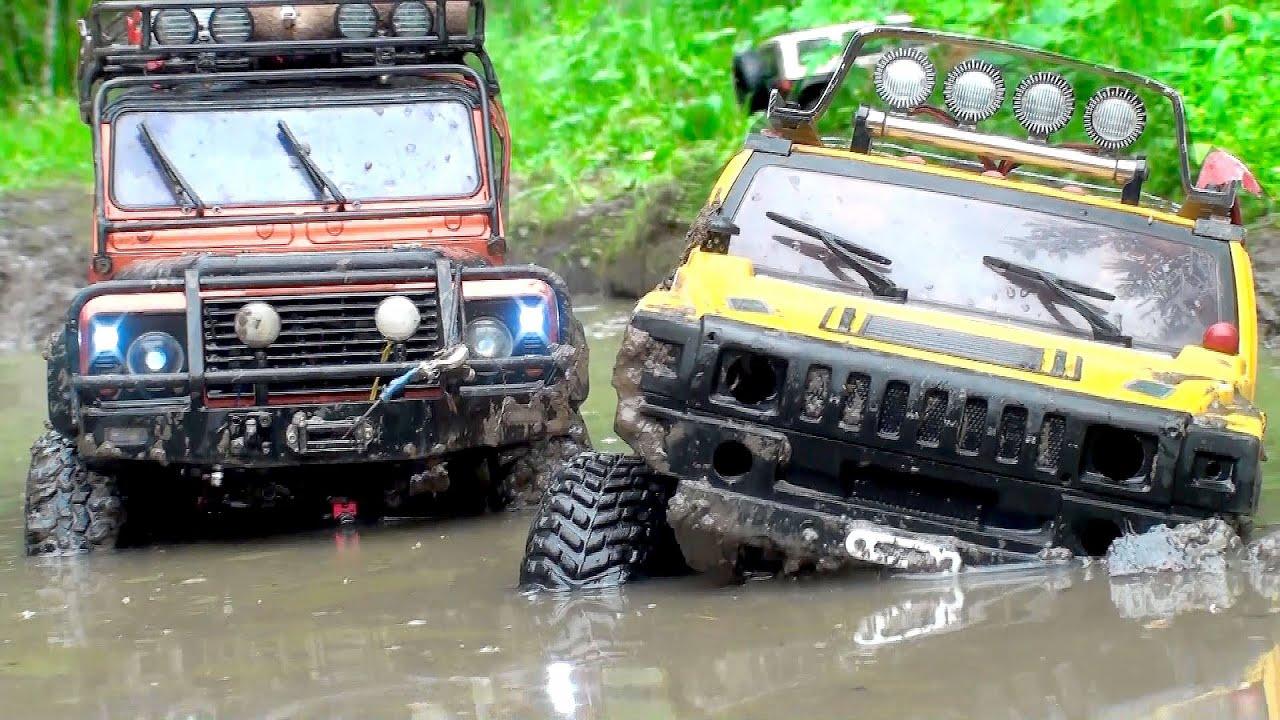 Off Road Mud Hummer H2 Vs Land Rover Defender Vs Jeep