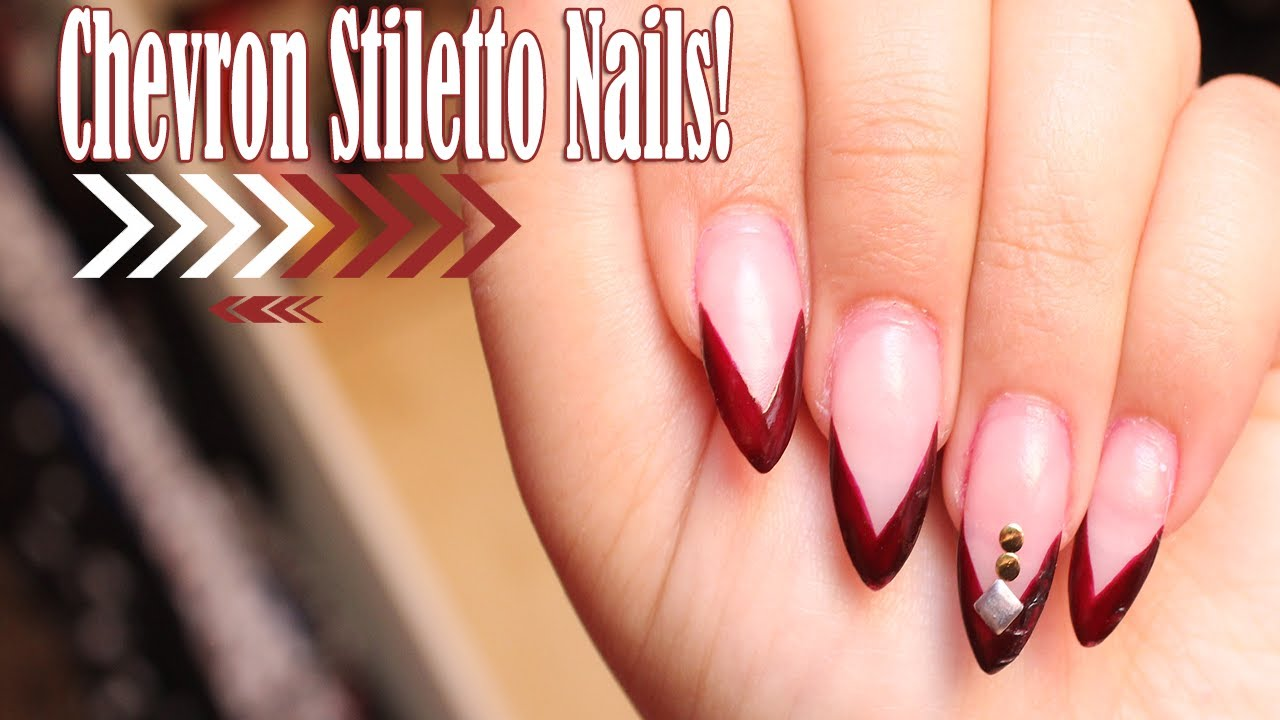 easy stiletto chevron nail
