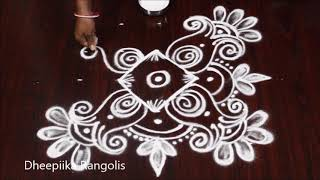 very easy rangoli design with 5x5 dots ll small daily kolams ll Apartment rangolis
