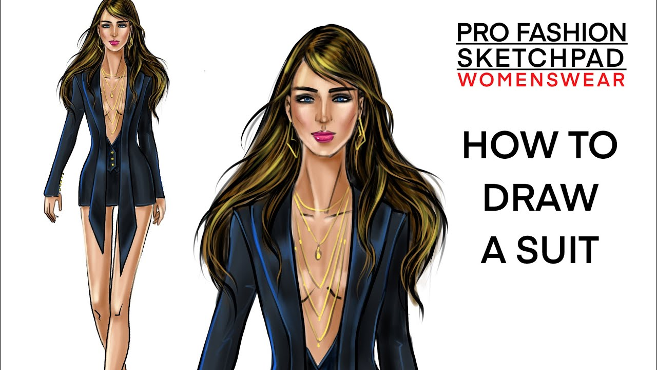 How to draw a SUIT using PRO FASHION SKETCHPAD Series templates | Womenswear | Fashion Sketchbook