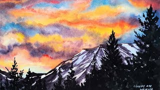 Moody 4 Color Sunset Easy Watercolor Tutorial