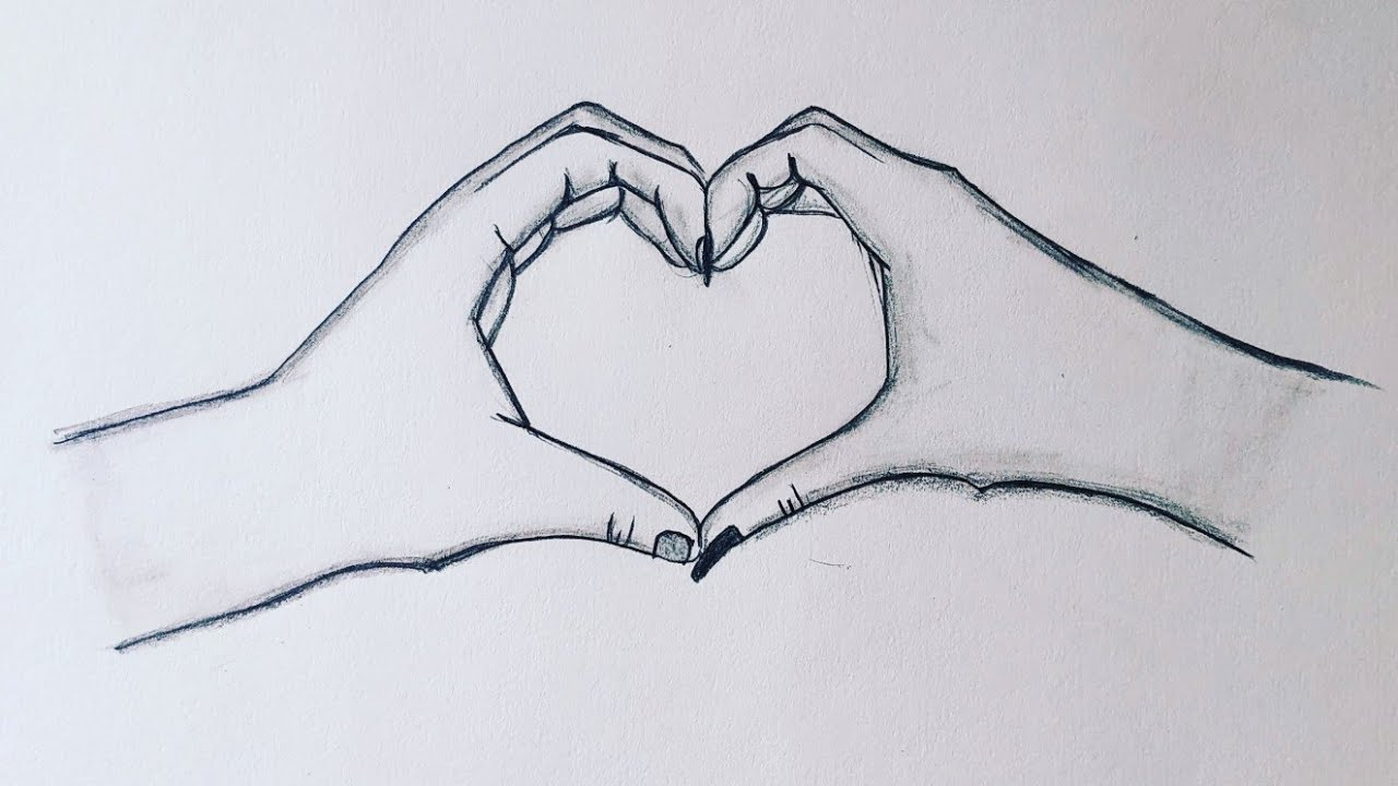 How to draw heart hands making heart❤holding hands pencil sketch