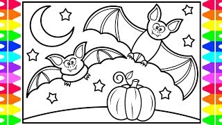 How to Draw HALLOWEEN Stuff for KIDS 🎃👻👀🦇Halloween Stuff Drawing and Coloring Pages for Kids