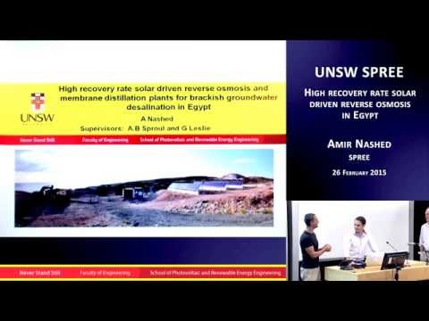 UNSW SPREE 201503-26 Amir Nashed - High recovery rate solar driven reverse osmosis in Egypt