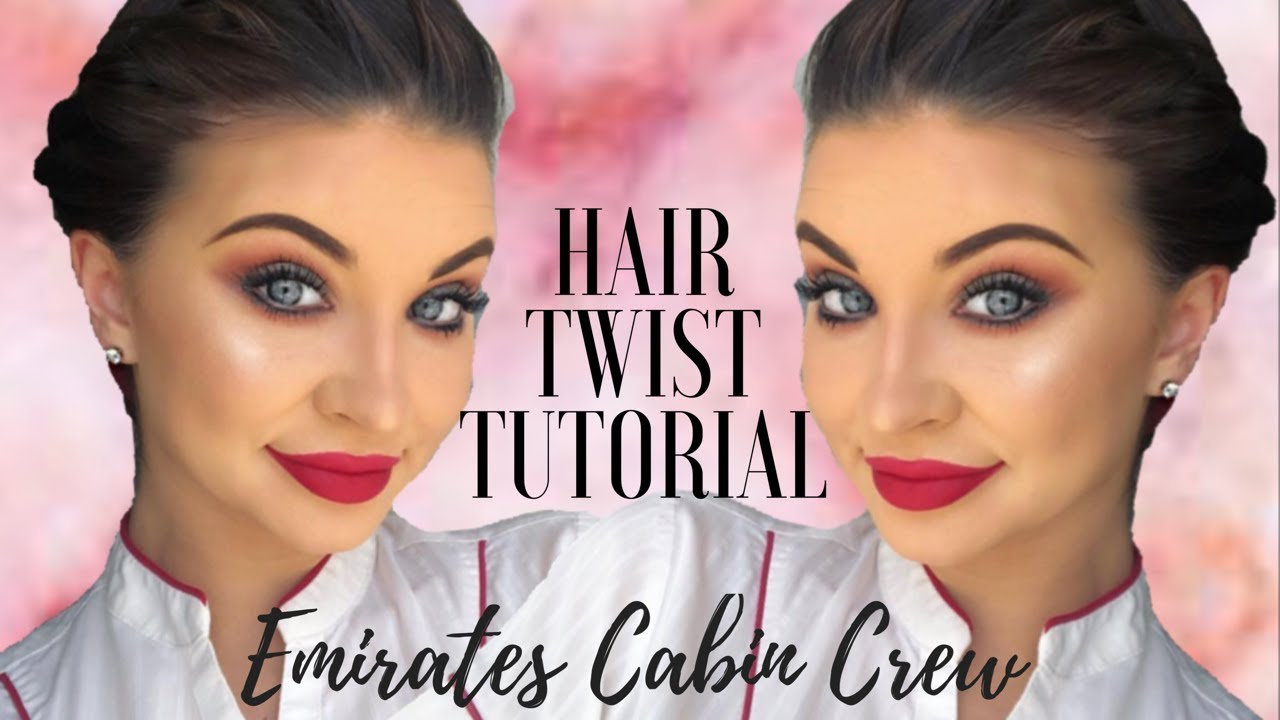 emirates cabin crew hair twist tutorial