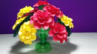 Make Beautiful Dahlia flower —Empty plastic bottle vase making crafts _Water bottle Recycle flower