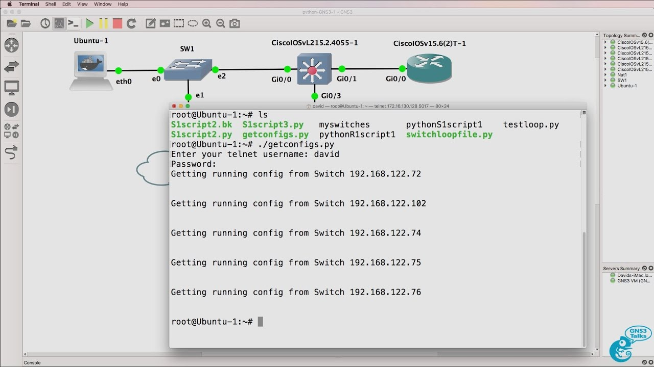 GNS3 Talks: Python for Network Engineers with GNS3 (Part 9) - Backup switch  configurations