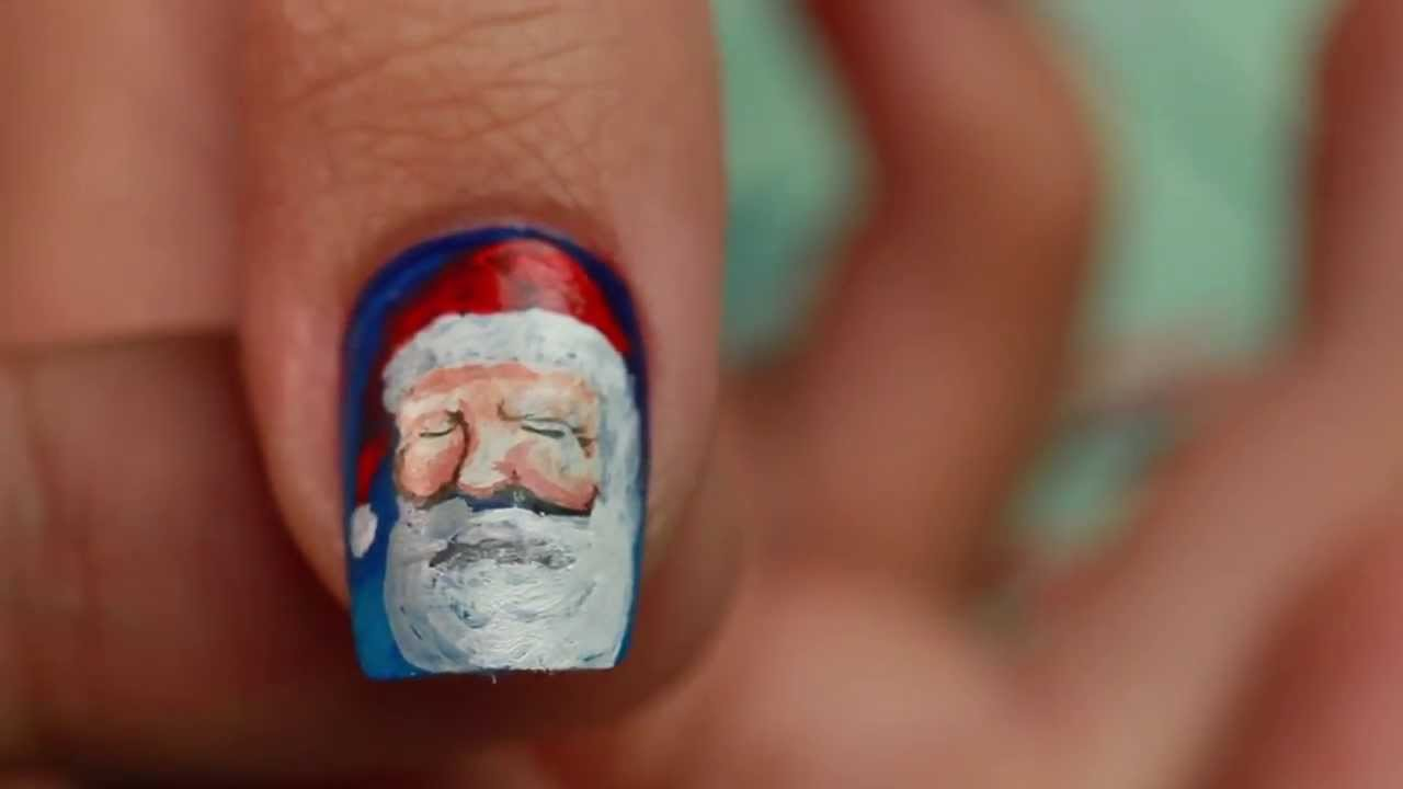 Santa Claus Hand Painted Nail Art Youtube