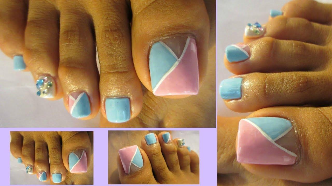 Tonos pasteles pedicure bonito y rapido/Easy & pretty toe ...