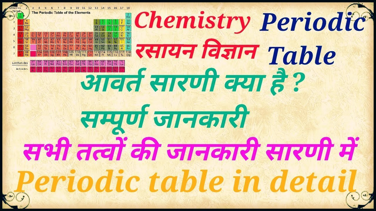 Periodic Table Complete Detail In Hindi