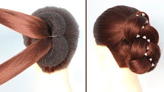 New French Bun style For Saree/gown || hairstyles for short hair || trending hairstyles || messy bun
