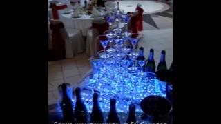 Горка шампанского на свадьбу цена 6.000 рублей за 56 бокалов