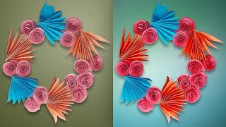 Diy paper flower wall hanging   Simple and beautiful Wall Decoration ideas   How To Make Easy