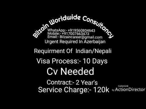 AZERBAIJAN JOBS FOR INDIAN AND NEPALI