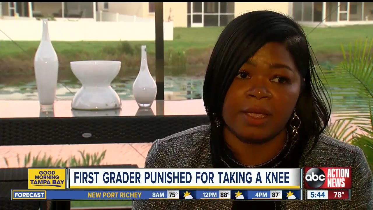 First grader told to stand after taking a knee during pledge of allegiance