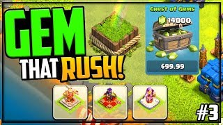 GEM That Rush! 14,000 Gems + NO HEROES! Clash of Clans - Episode 3