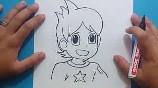 Como dibujar a Nathan paso a paso - Yo Kai Watch | How to draw Nathan - Yo Kai Watch