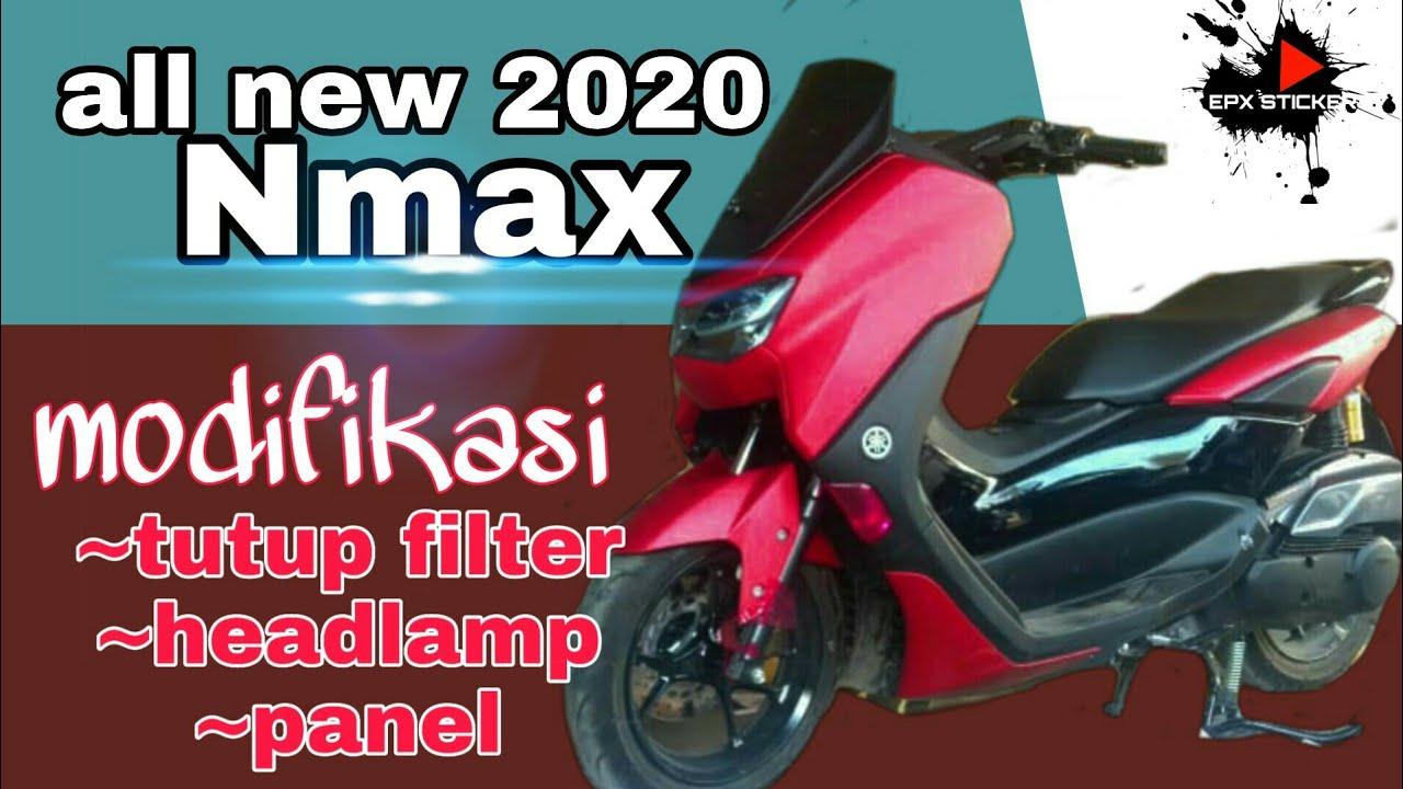 All new Nmax 2020 warna merah modifikasi sticker carbon (tutup filter) & sticker hybrid headlamp