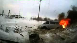 Head-on Crash - Minibus Catches Fire