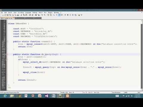 CSI4102 - DBConnectivity, Classes, Simple MicroBlog PHP