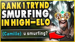 WHEN THE #1 TRYNDAMERE WORLD SMURFS IN HIGH-ELO...MASSIVE STOMP TOP LANE - League of Legends