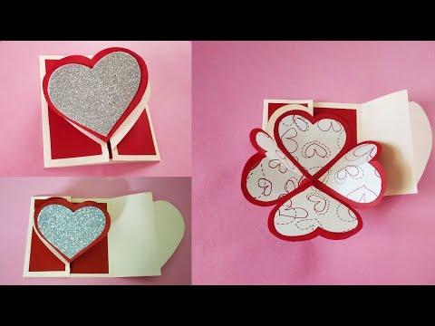 Heart Flower Pop-up Card | DIY Handmade card | Tutorial For Scrapbook | Valentine's day Card