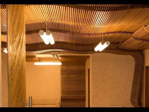 Отделка потолка  деревом, строительство проектирование СПА центров комплексов, интерьер стен