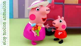 Flowers for Grandma Pig Peppa Pig toys stop motion animation in english