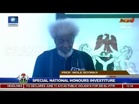 Proof. Wole Soyinka Speech at June 12, 2018 Speacial National Honours Investiture