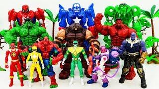 Marvel Superhero SPIDER HULK, HULK Rescue POWER RANGERS FROM Villains Army! HULK VS JUGGERNAUT TOY B