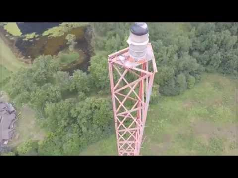 See the top of a Michigan Radio Tower from a Drone