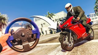 STEERING WHEEL WITH A MOTORBIKE?! - (GTA 5 Drifting & Stunts)