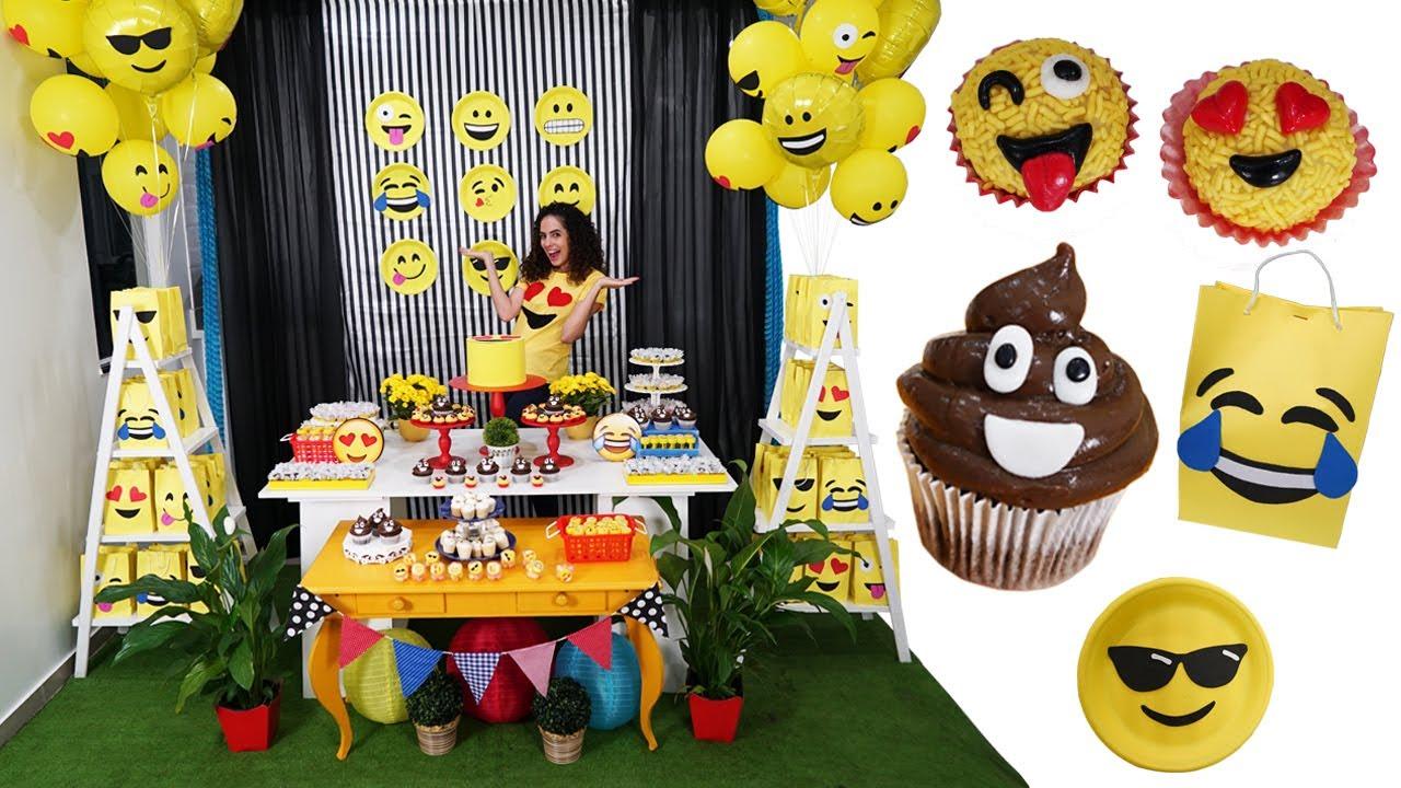 DIY FESTA DE ANIVERSÁRIO EMOJI GASTANDO POUCO Paula Steph u00e2nia YouTube -> Decoração De Festa Tema Emoji