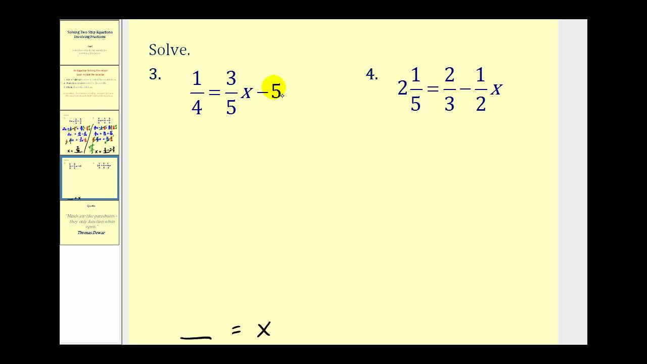solving two step equations involving fractions youtube - Solving Equations With Fractions Worksheet