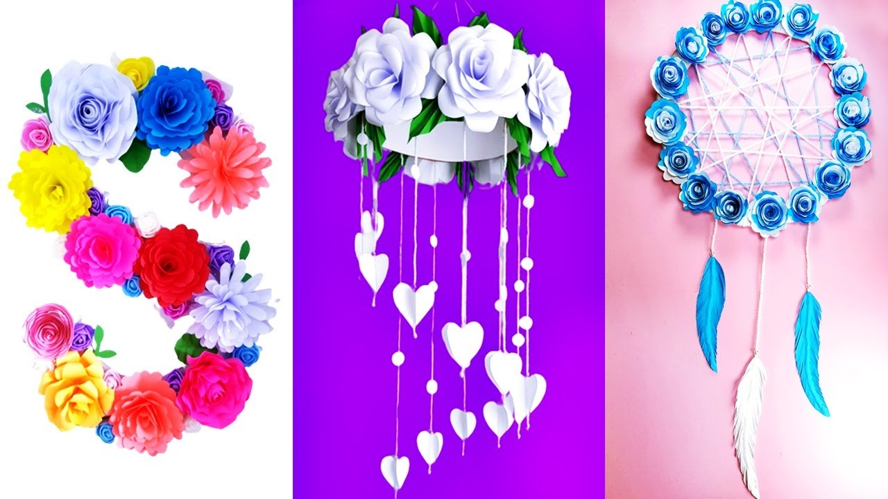 BEAUTIFULL HOME DECOR IDEAS FROM PAPERS - FLOWERS, FLORAL LETTER, WALL HANGING, DREAM CATCHER..