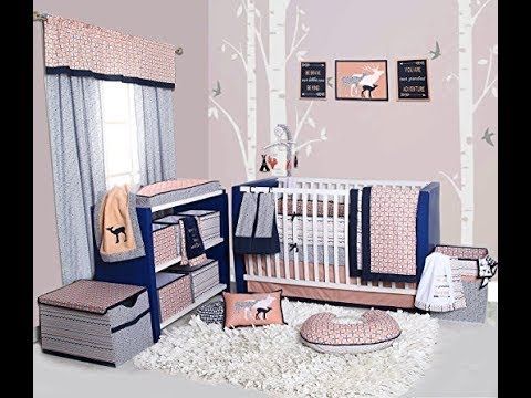 Bacati Olivia Tribal 10 Piece Nursery-in-a-Bag Cotton Percale Girls Crib Bedding Set with Bumper Pad