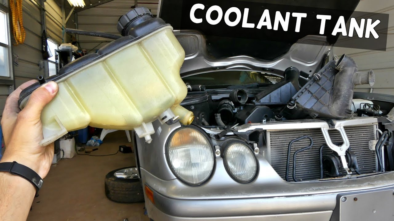how to remove and replace coolant overflow bottle reservoir tank on mercedes w208 w202 [ 1280 x 720 Pixel ]