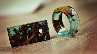 """Кольцо и кулон """"Кораблекрушение"""" из эпоксидной смолы и дерева своими руками"""