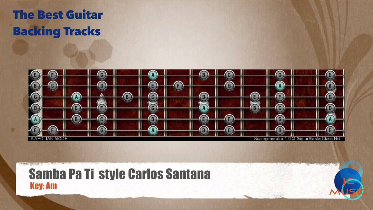 Samba Pa Ti Style Carlos Santana Guitar Backing Track With Scale Map