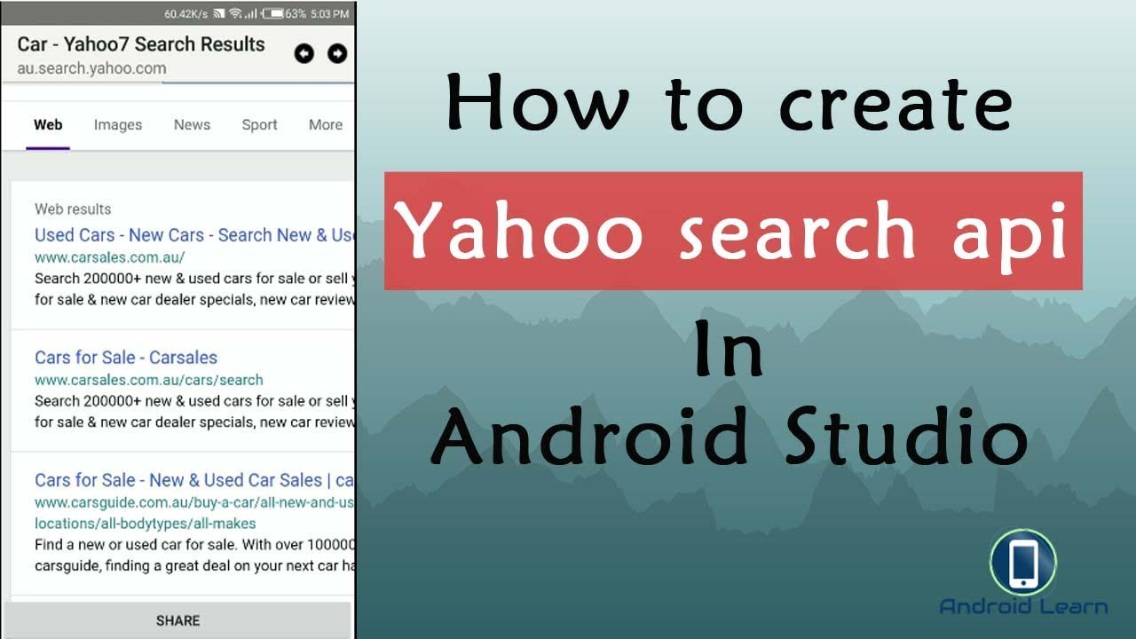 Yahoo Search Api In Android Studio