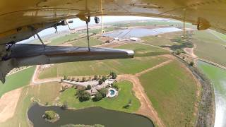 Go Pro footage of an airplane planting rice in California. June 2015