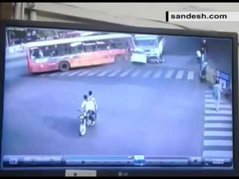 CCTV Footage AMTS Bus Accident Near Nehru Bridge Of Ahmedabad