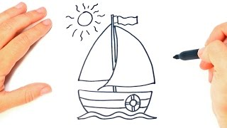 How to draw a Sailing Boat Step by Step
